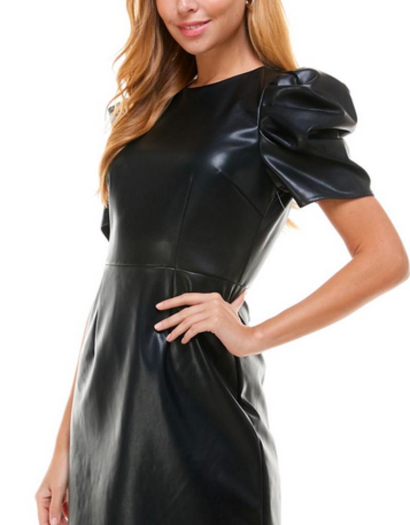 LABEL Puff Sleeve Dress -  Black