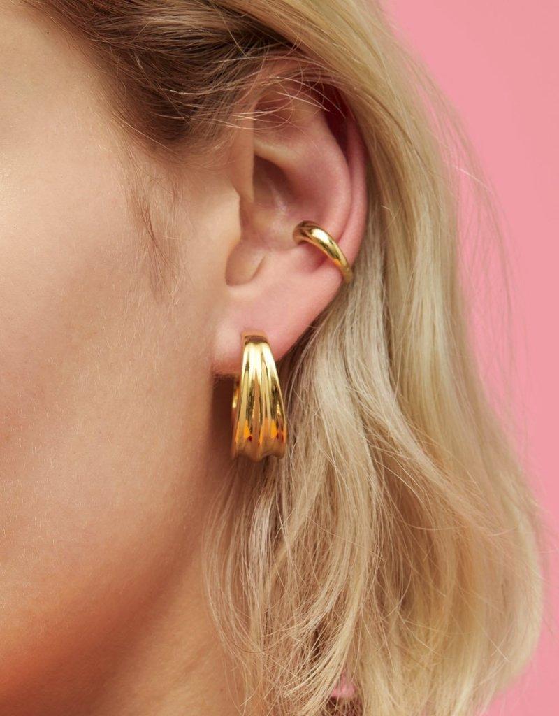 Jenny Bird Pleated Hoops - Gold