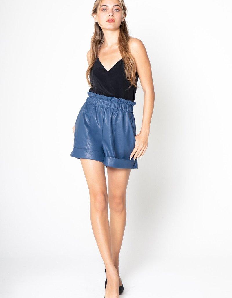Lavender Brown Vegan Leather Cuff Shorts