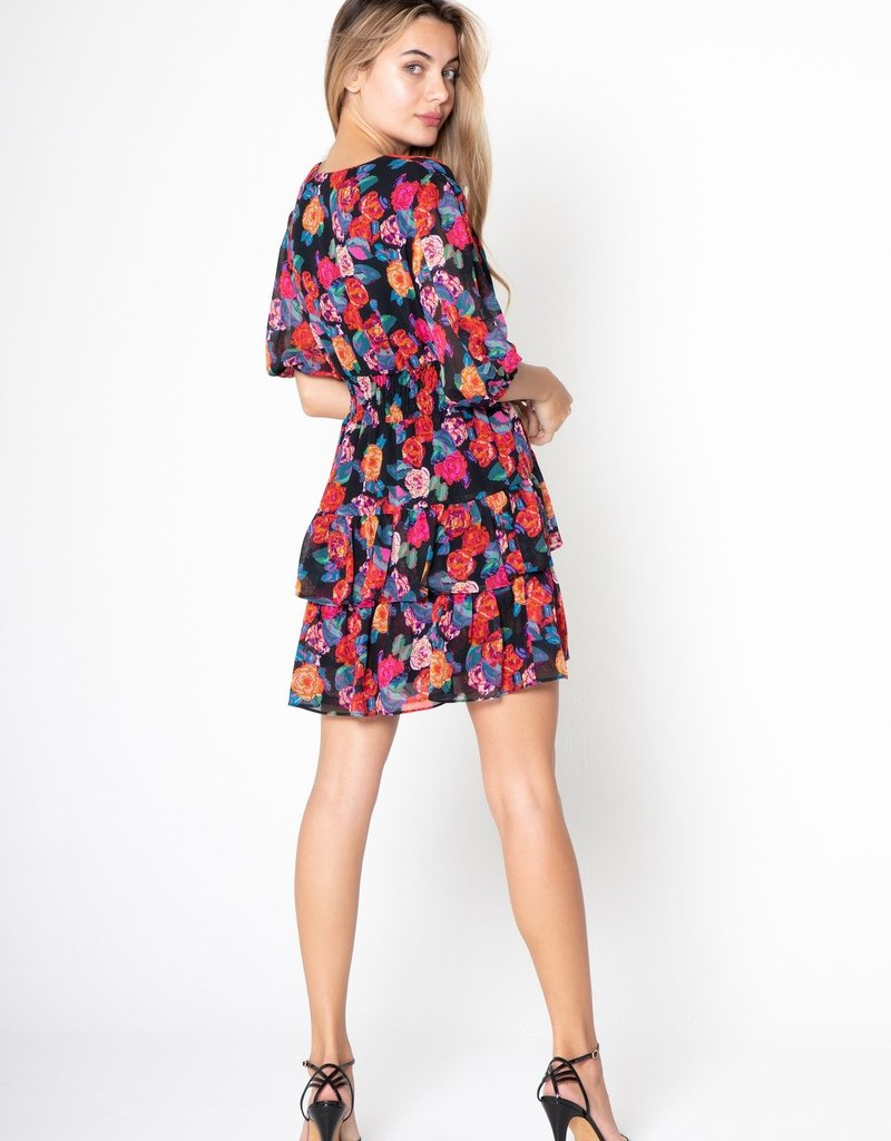 Lavender Brown Ava V Neck Mini Dress