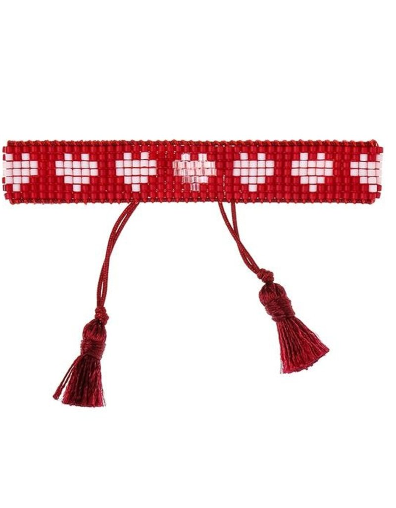 HART Red and White Hearts Beaded Bracelet