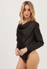 ASTR Blakely Draped Satin Bodysuit - Black