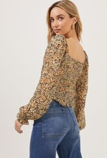 ASTR Love Song Floral Ruched Frill Puff Sleeve Top