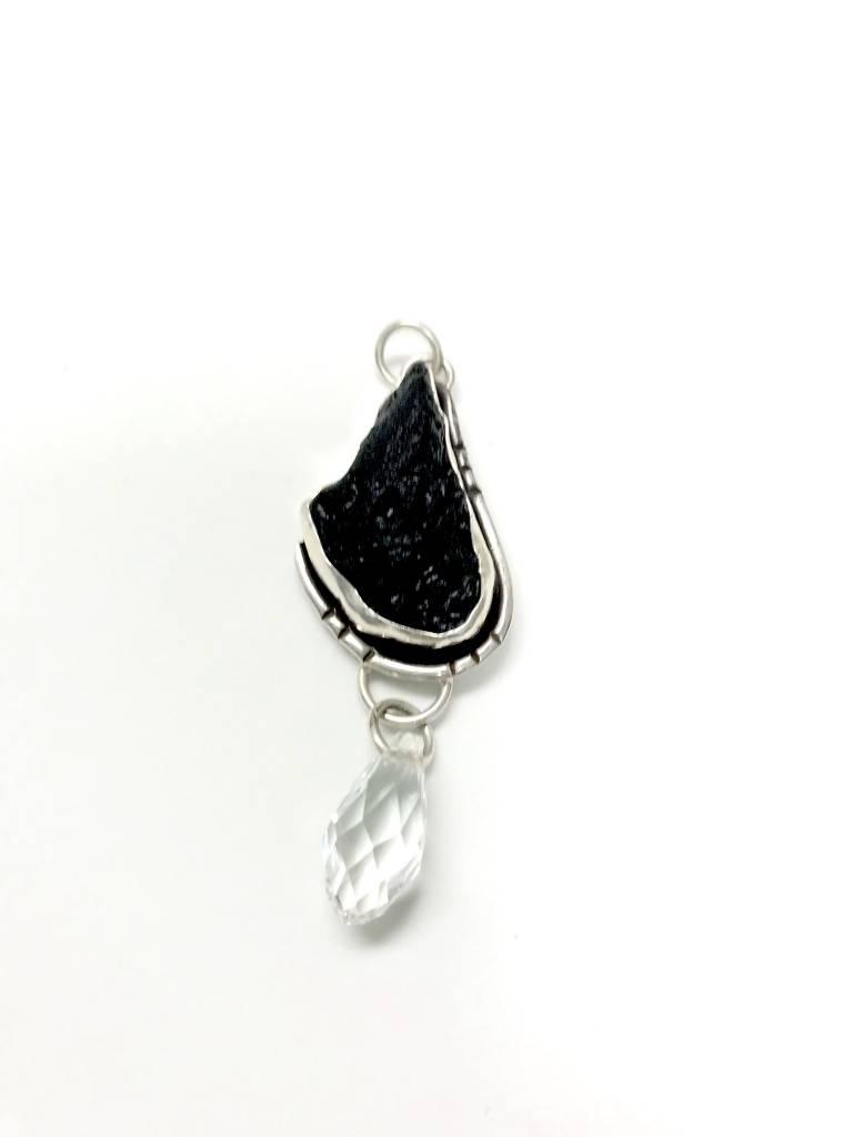 Tecktite (Meteorite) w/ Quartz Crystal Pendant