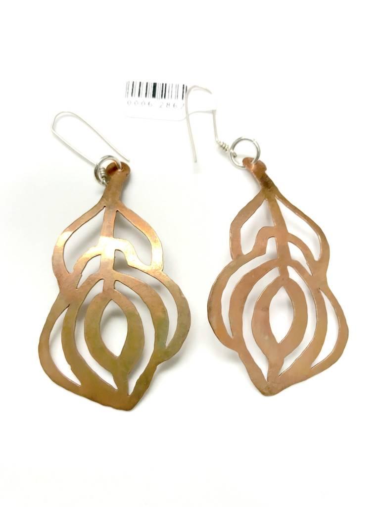 Copper Feather Earrings