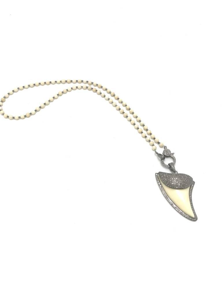 Natural Stone & Hematite Bead Necklace with Shark Tooth Pave Diamond Pendant
