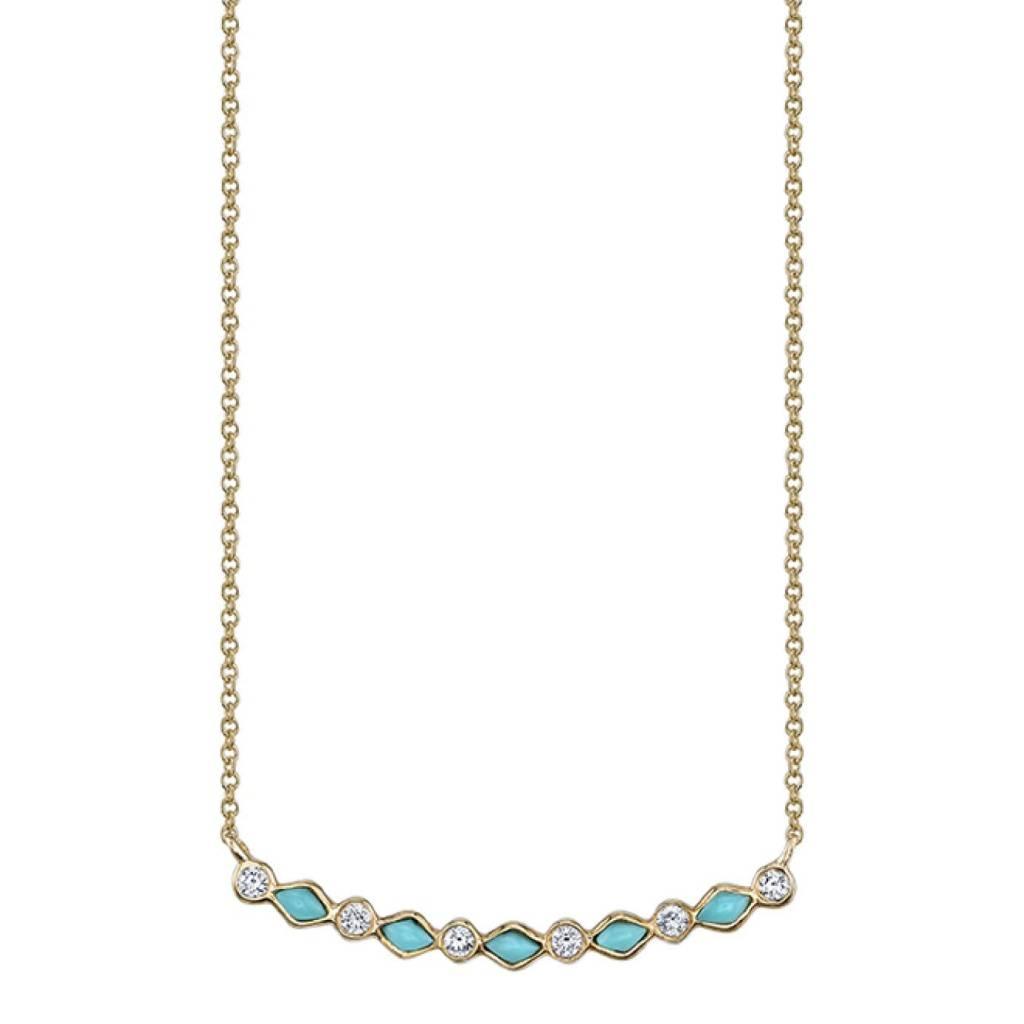 Turquoise Diamond Bezel Curved Bar Necklace