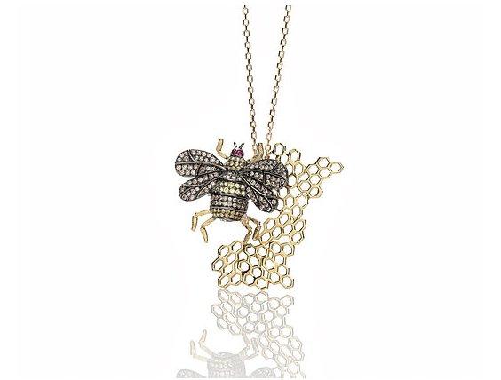Precious Stones Bee Necklace
