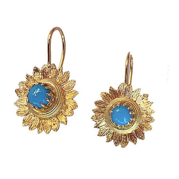 Sleeping Beauty Turquoise Sunflower Earrings