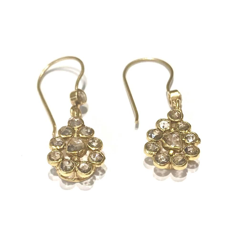 Rose Cut Diamond Teardrops with 19K Gold Earrings