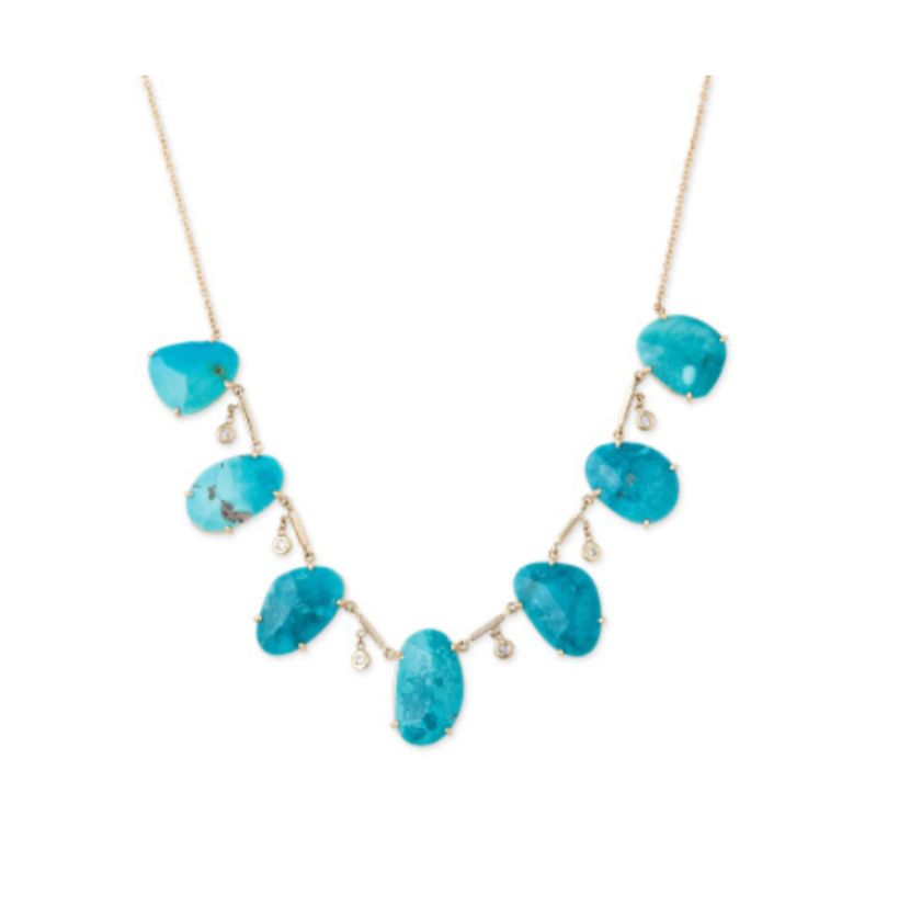 Freeform Turquoise Slice + Diamond Shaker Necklace