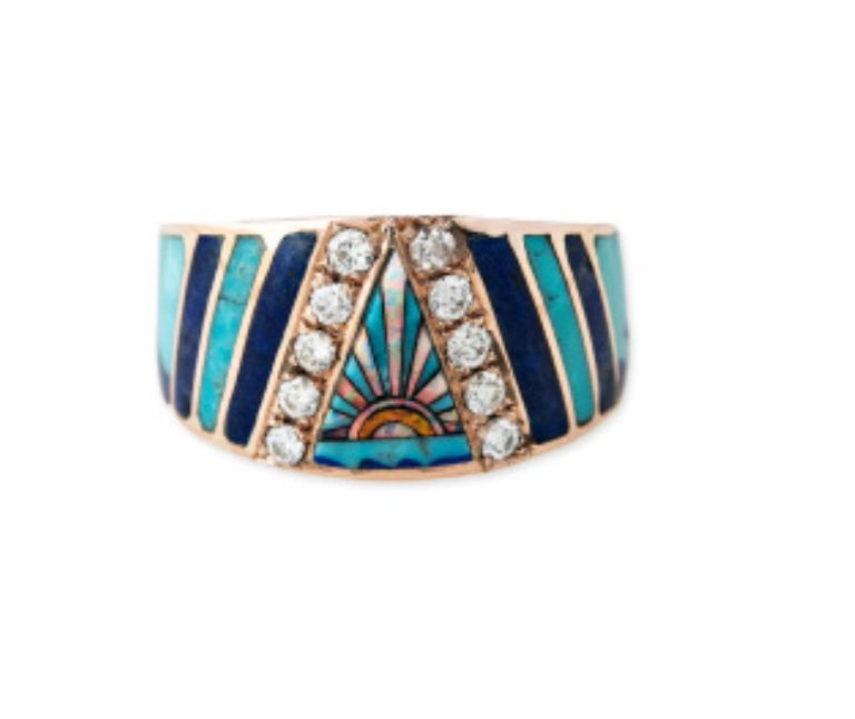 14K YG Pave Sunshine Opal Inlay Chevron Ring