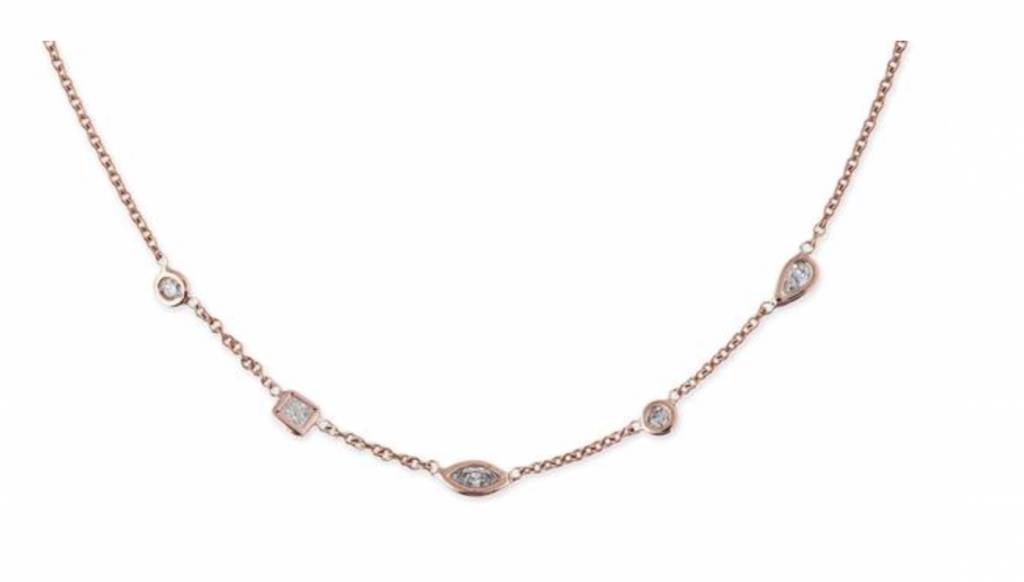 14K YG 5 Diamond Shape Spaced Out Choker Necklace