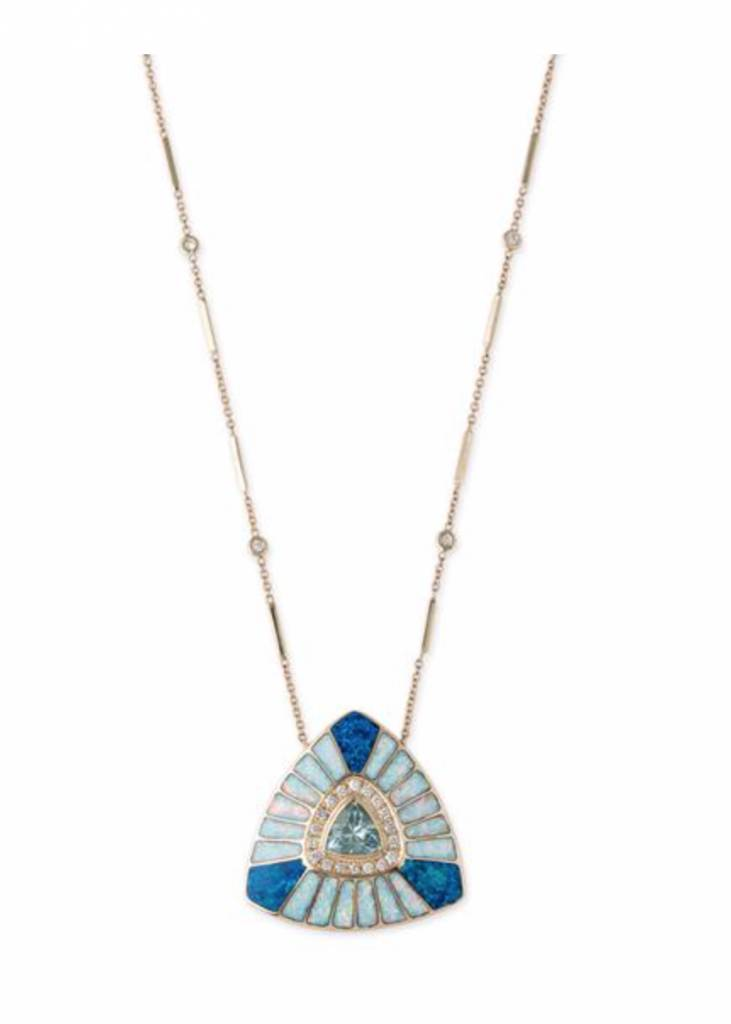 14K YG Pave Aquamarine Center Opal Inlay Vortex Necklace on Diamond & Bar Chain