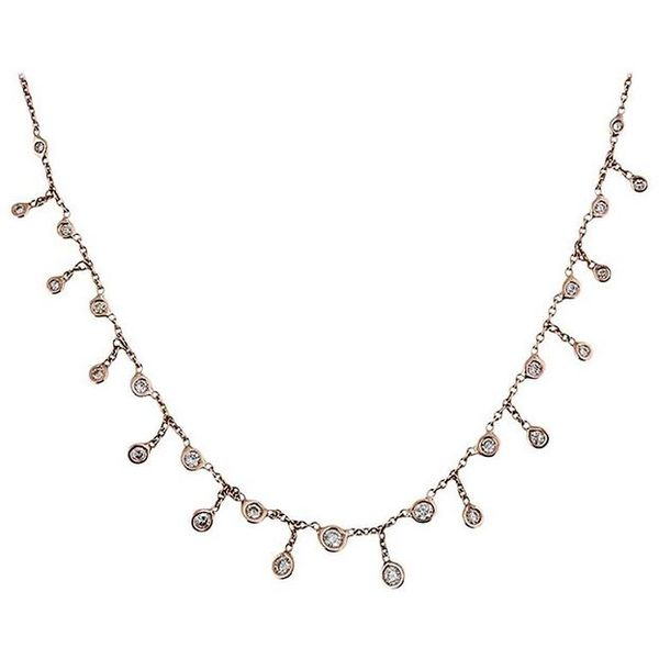 14K YG Graduated Diamond Shaker Necklace