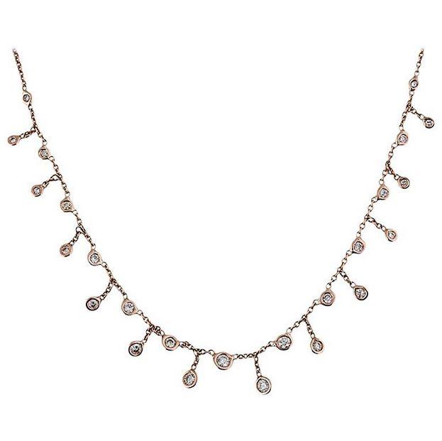 14K YG Graduated Diamond Shaker Necklace