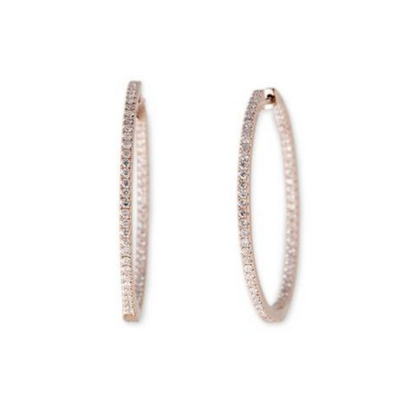 14K RG Medium Pave Inside Out Hoops (Pair)