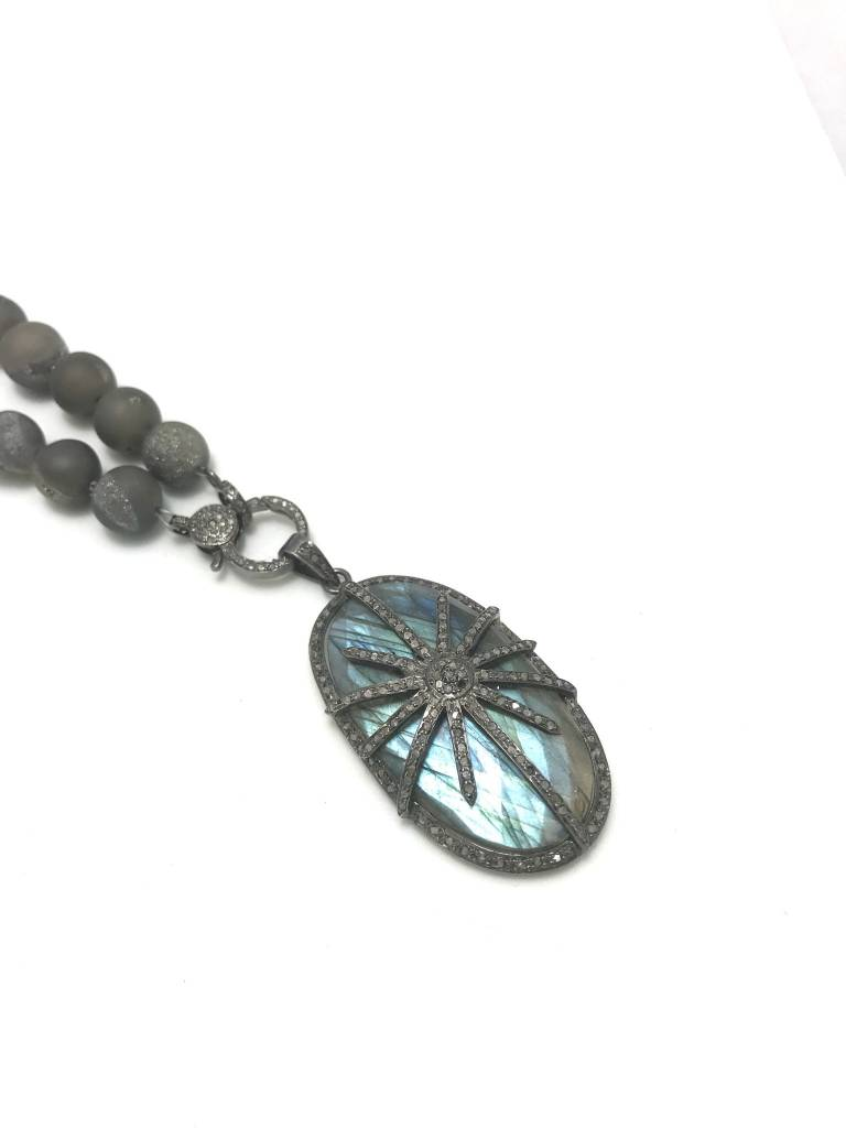 Labradorite + Pave Diamond Pendant