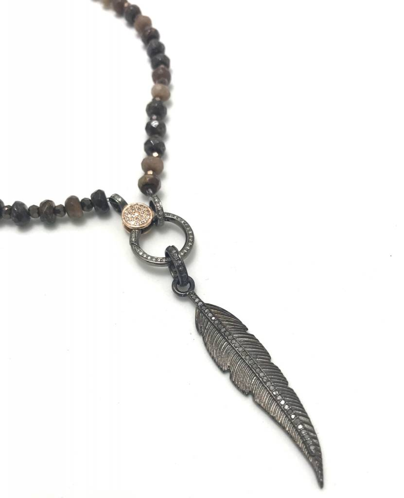 Bronzite, Hematite, Coffee Jade Necklace with Pave Diamond Clasp + Diamond Feather Pendant