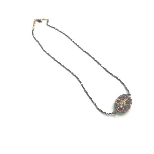 Ruby & Gold Vermeil & Pave Diamond Necklace