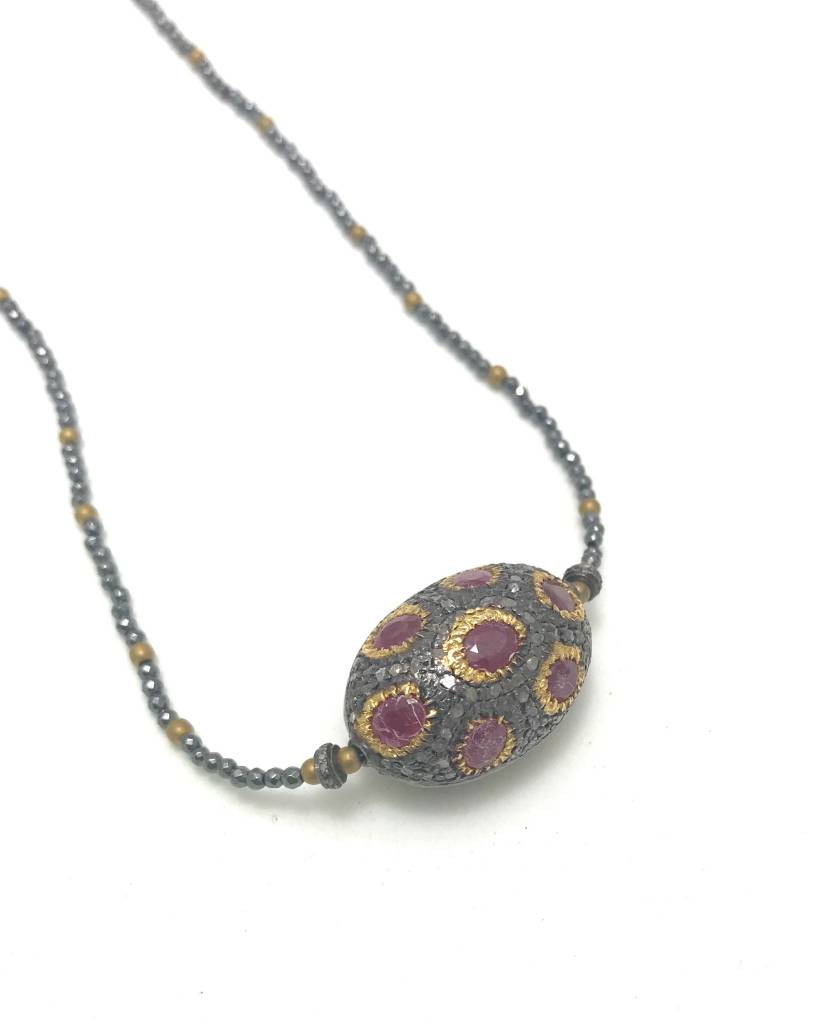 Ruby & Gold Vermeil & Pave Diamond Necklace