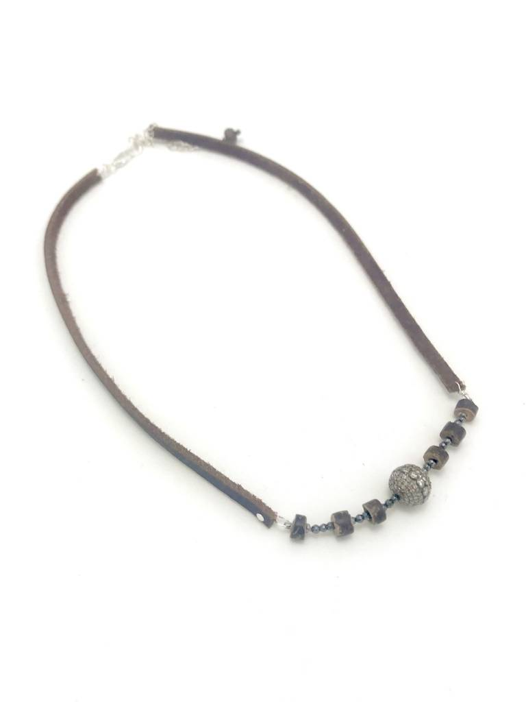 Leather Necklace with Coconut Shell and Hematite Beads with SS Pave Diamond Pendant