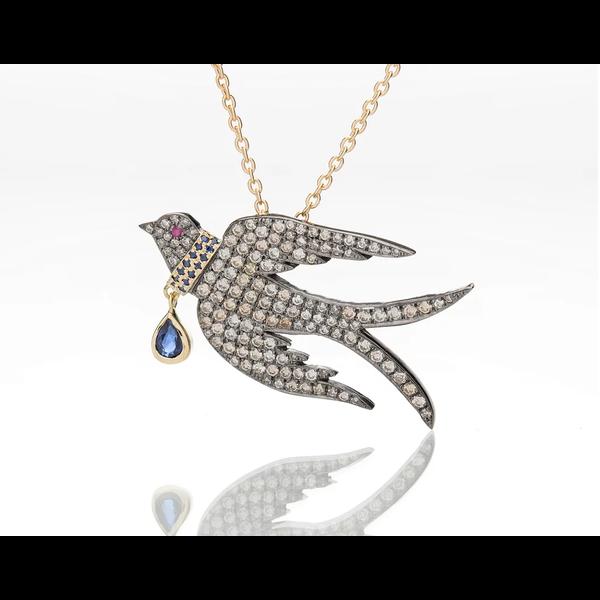 Diamond Bird with Blue Sapphire Collar
