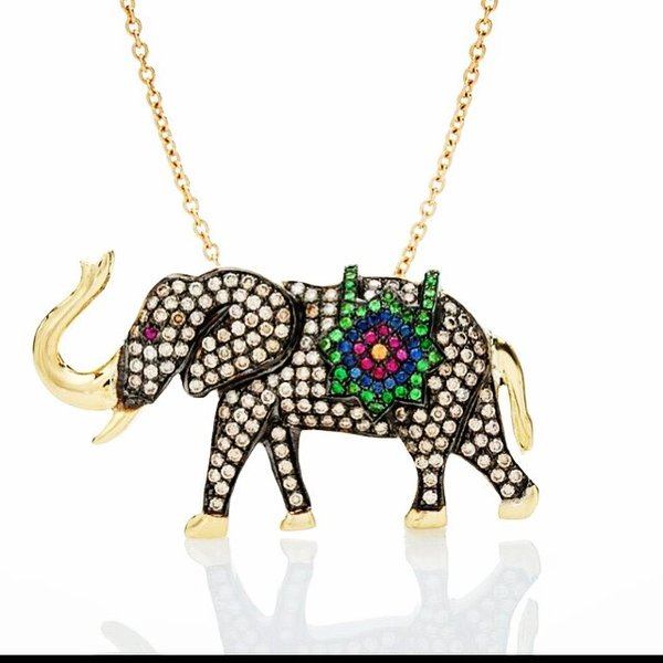 Tsavorites Elephant Necklace