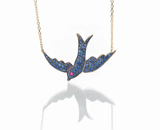 Oiseau Bleu Sapphire Bird Necklace
