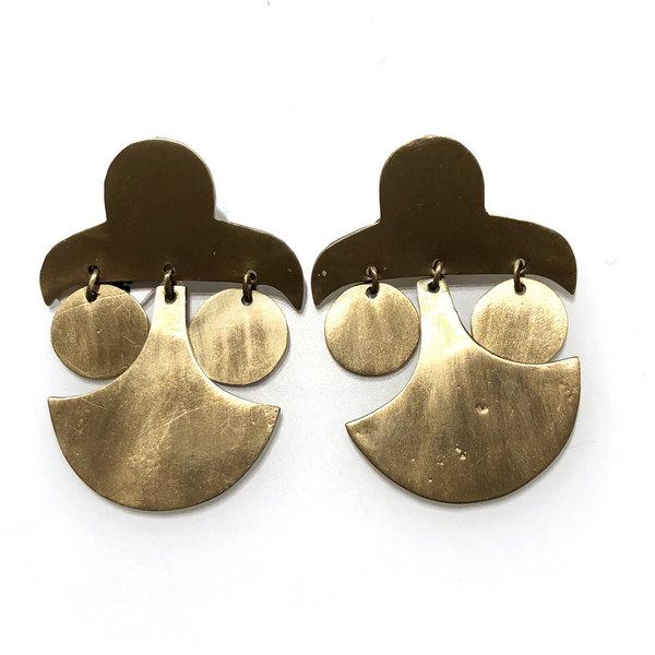 KT Brass Cut Earrings