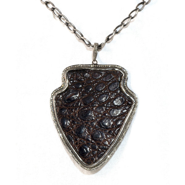 Leather Shield w/ Pave Outline Necklace