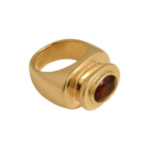 Kings Platform Ring - Garnet 18k