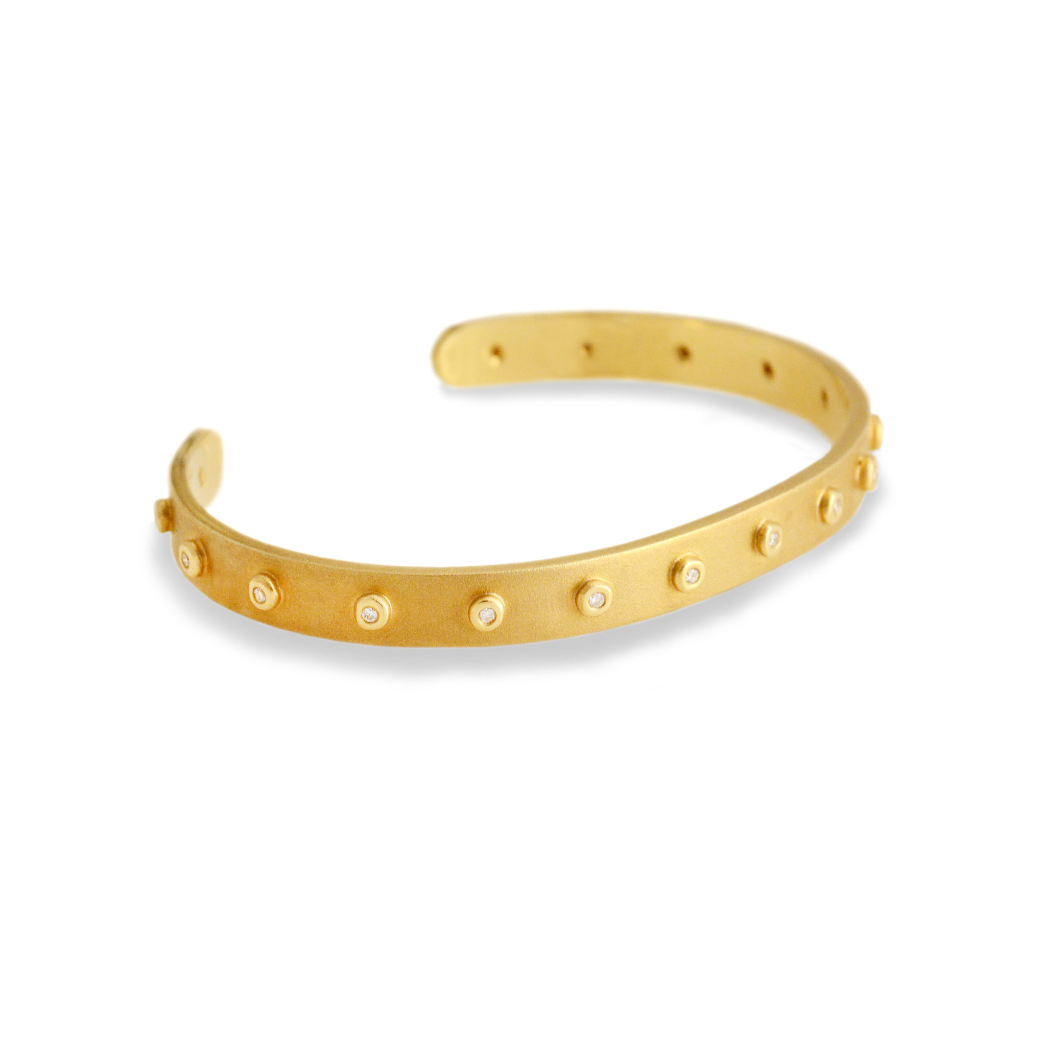 Diamond Studded Compliment Cuff - Matte Gold