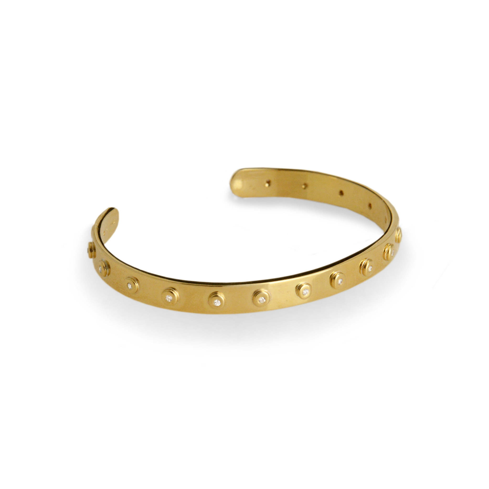 Diamond Studded Compliment Cuff - Polished Gold