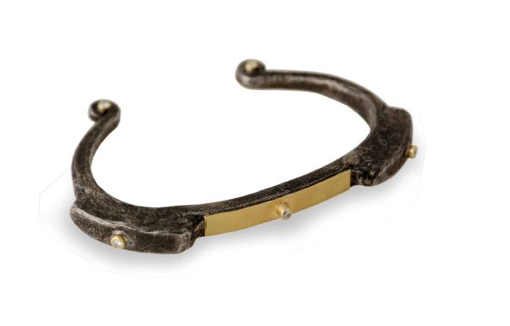 Oxidized SS Primitive Cuff with18K Overlay and Diamonds