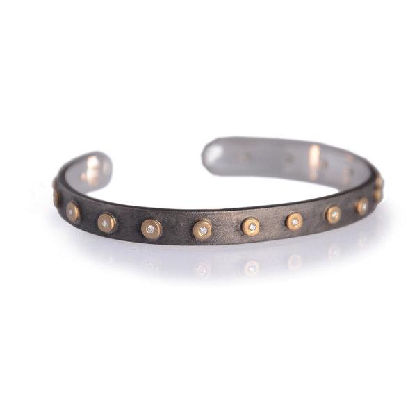 Diamond Studded Compliment Cuff - Silver