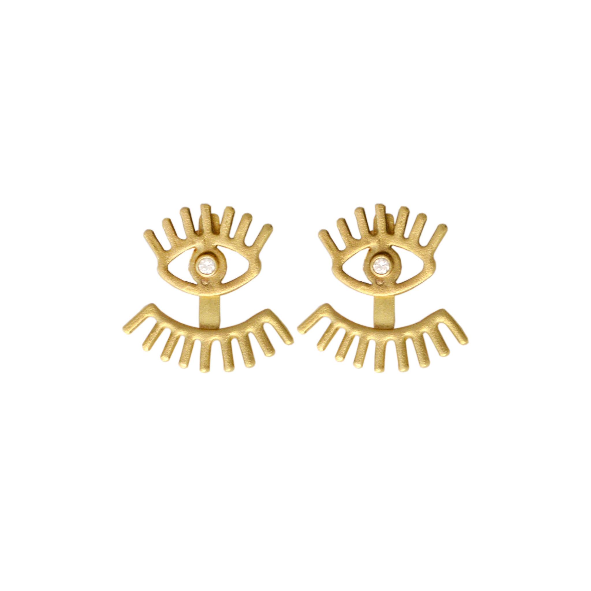 Evil Eye Jacket Earrings