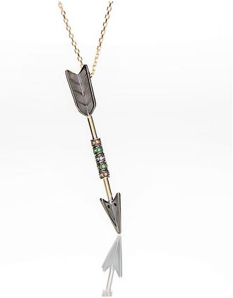 Arrow Necklace with Precious Stones
