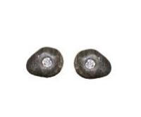 Silver and Diamond Pebble Earrings