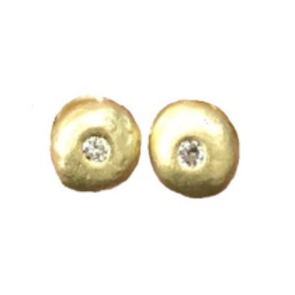 18k and Diamond Pebble Earrings