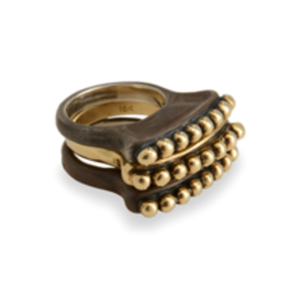 Molten Sudan Ring  Mixed 18k and Oxidized SS