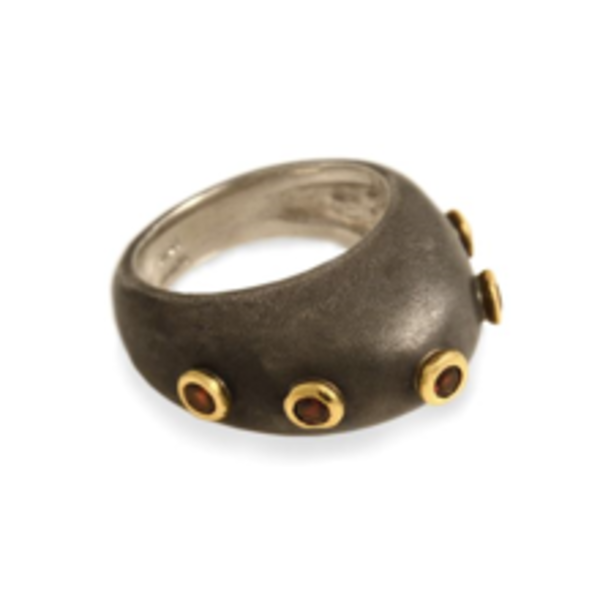 SS Dome Ring with Garnets