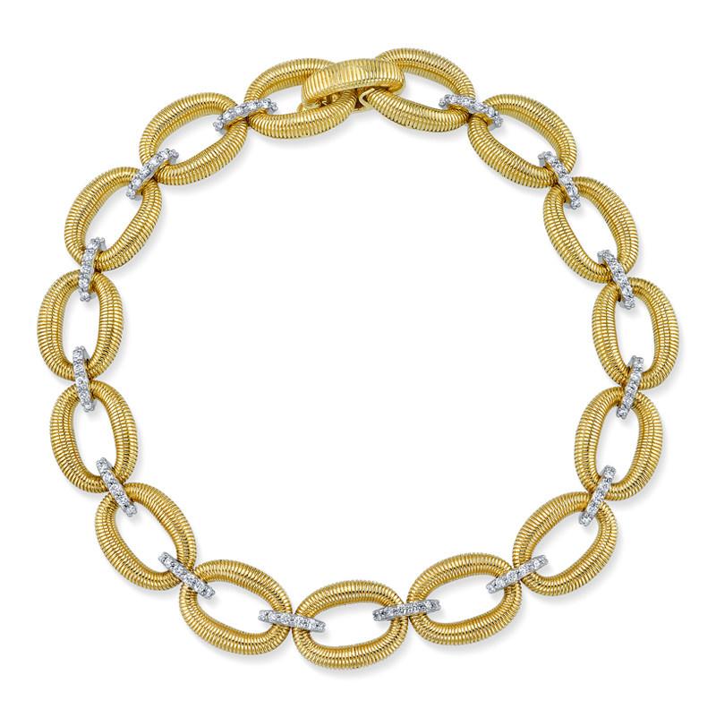 Small Link Bracelet with Strie & White Diamond Detail