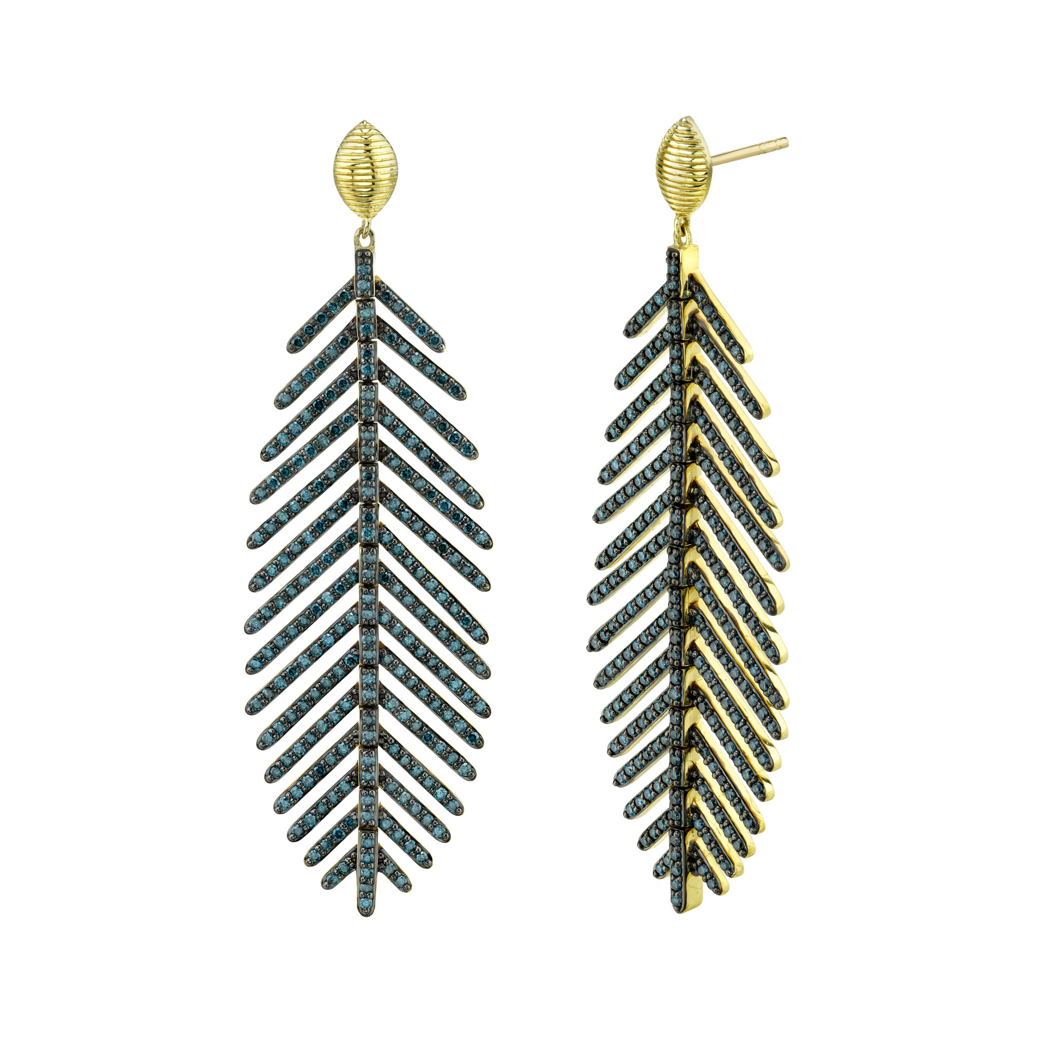 Medium Sized Feather Earring with Blue Diamond & Marquis Strie Top