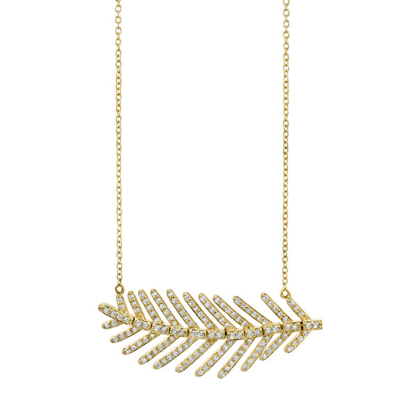 Feather Chain with White Dia Detail