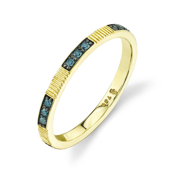 Stacker Ring with Blue Dia & Strie Detail