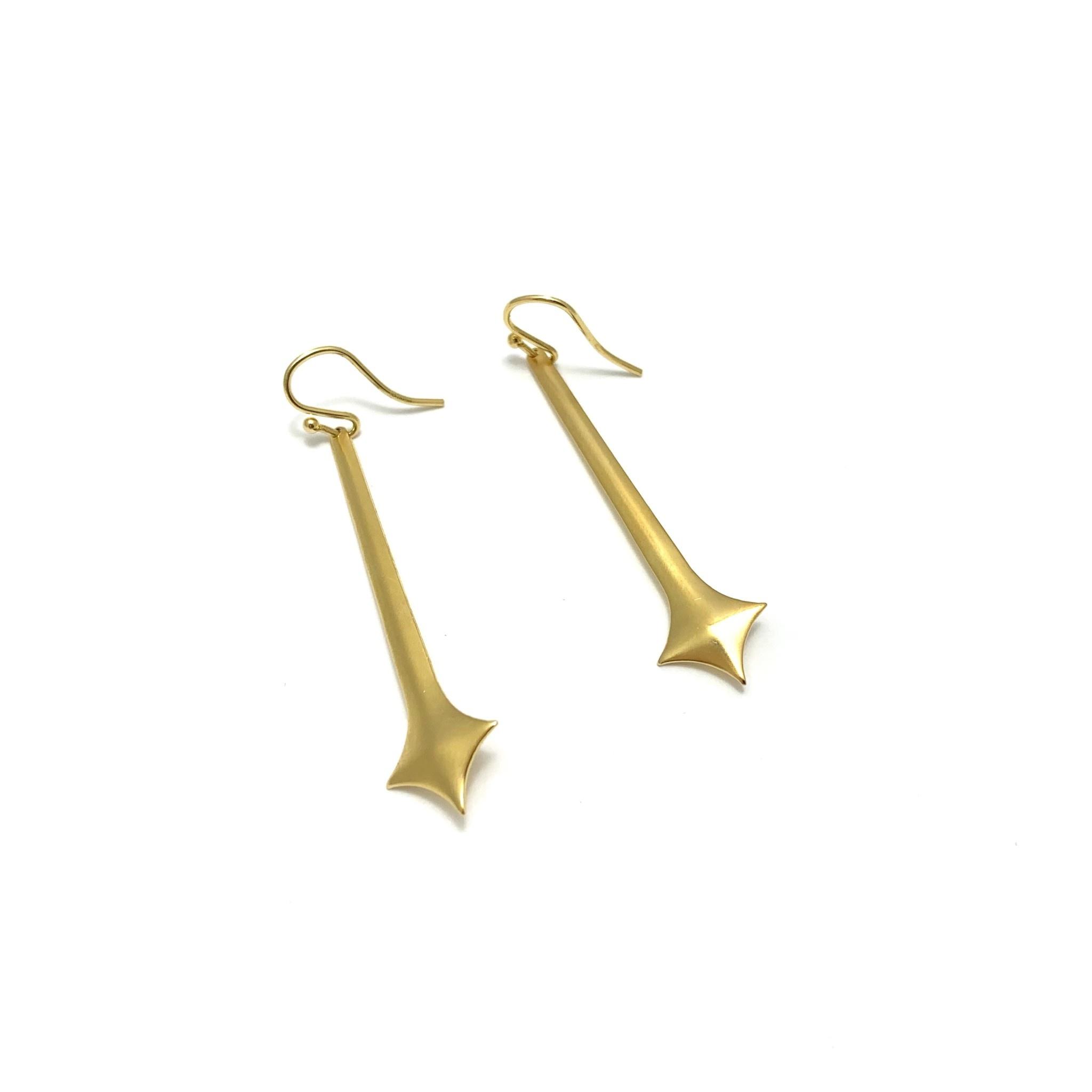 Gold Ear, elongated cross, gold plate