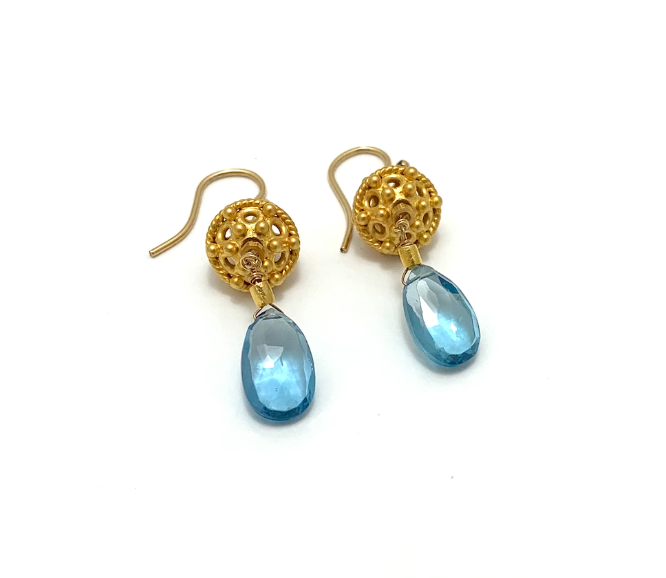 Gold Ear Ball with stone, blue topaz, gold plate