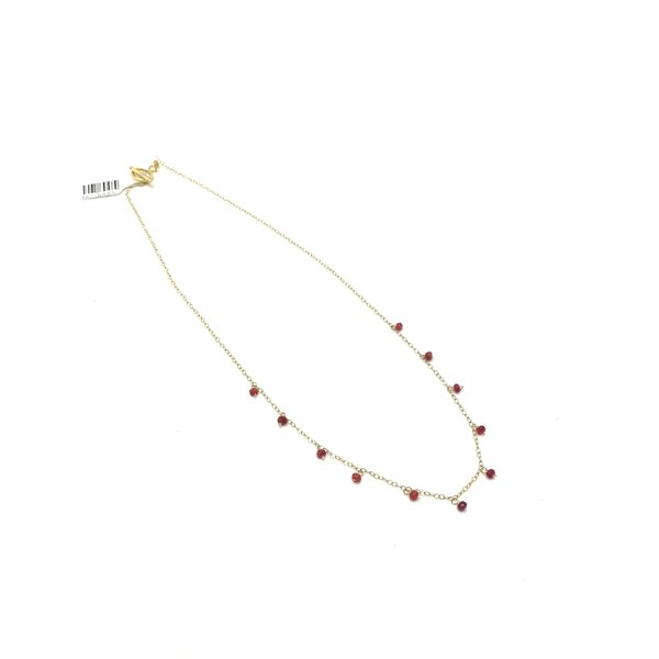 Shaker Necklace, Ruby, Gold Plate