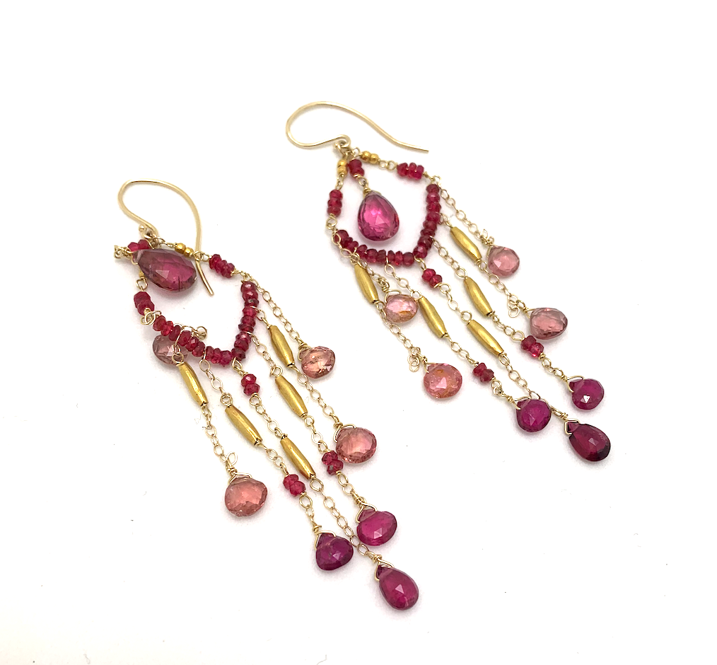 14K with 22K Beads Ombre Spinel, Tourmaline Earrings